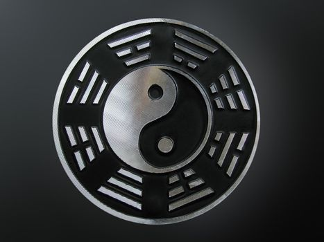yin yang with trigrams over black