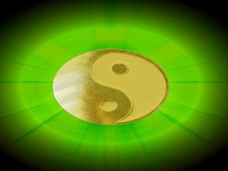golden yin yang with green light