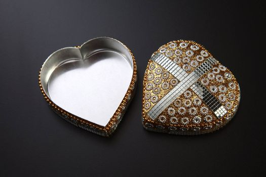 heart shape gift box on the black