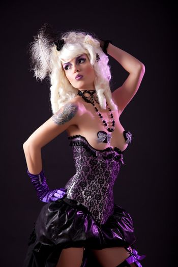 Sexy woman in burlesque outfit