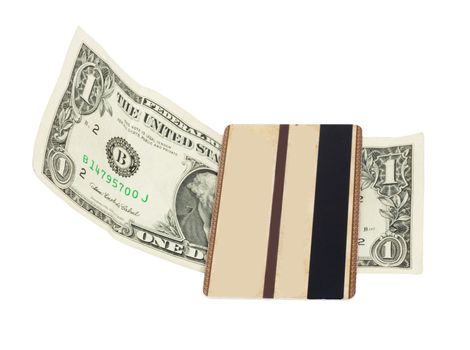 brown plastic card and a dollar