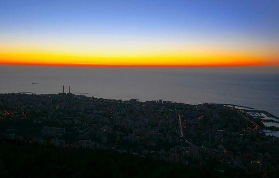 Sunset on town