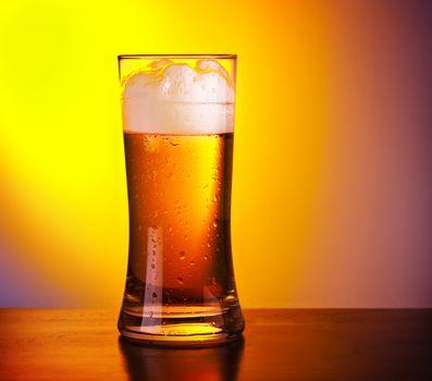 Glass of refreshing beer