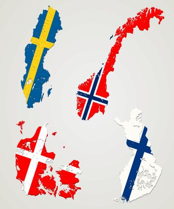 Map and flags of four major nordic countries. Norway, Sweden, Finland and Denmark.