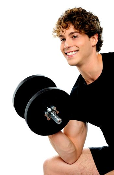 Muscular man in black sportswear with dumbbell
