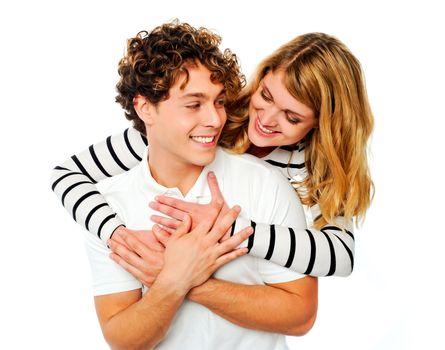 Smiling playful couple having fun