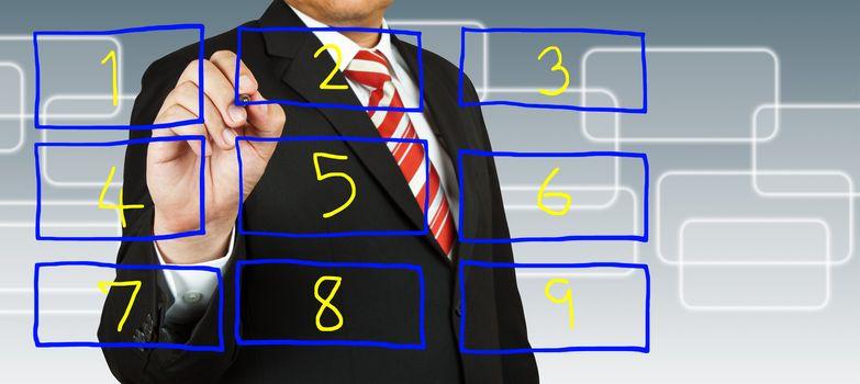 businessman hand drawing on number rectangular