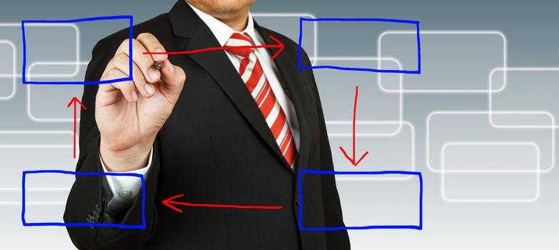 businessman hand drawing on blank rectangular