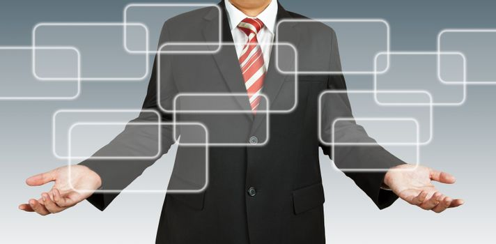 Businessman with blank rectangular