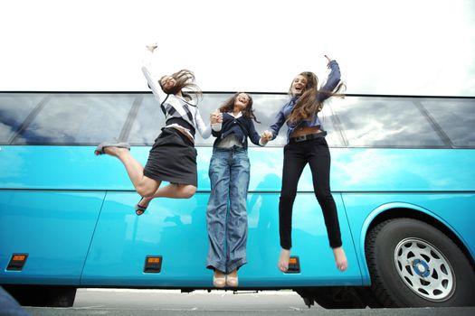 businesswoman jump