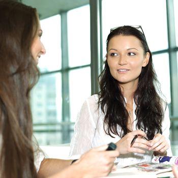 smiling girl thinking on examinination