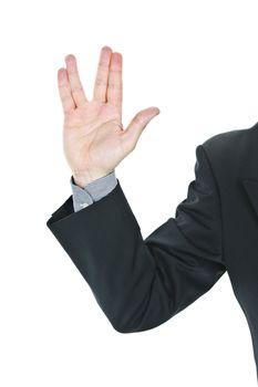 Man giving Vulcan salute