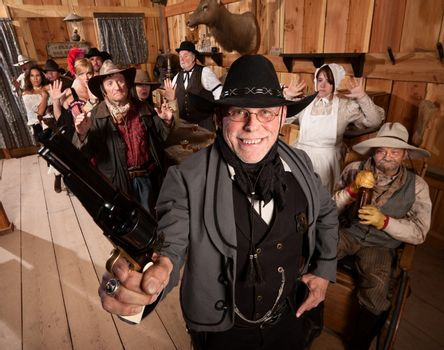 Happy Sheriff Arrests Group in Saloon