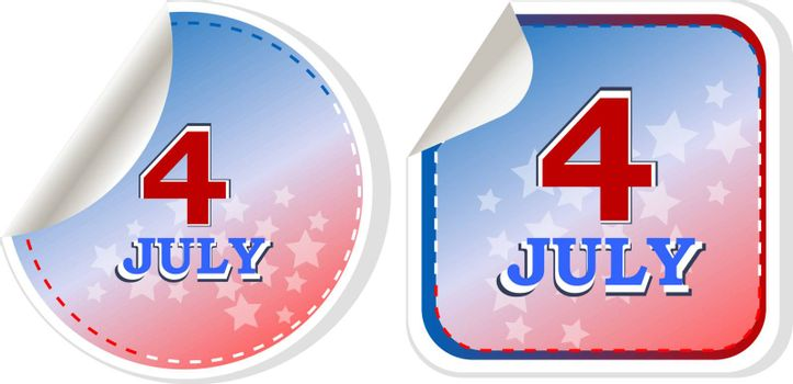 independence day badge on patriotic background - vector stickers set