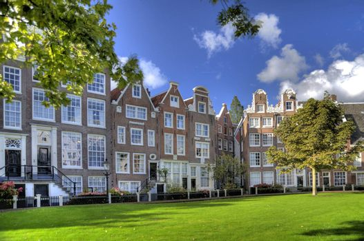 beguinage in the old town of amsterdam, netherlands (hdr)