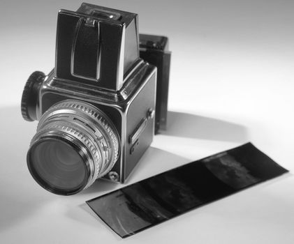 An old camera with some film.