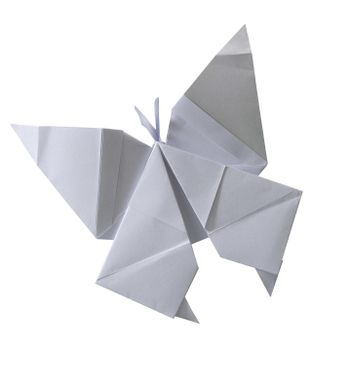 clipping path of paper folded into a butterfly.