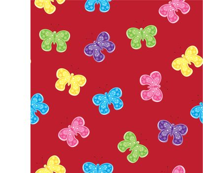 Seamless texture of colorful butterfly. Illustration of the designer on red background