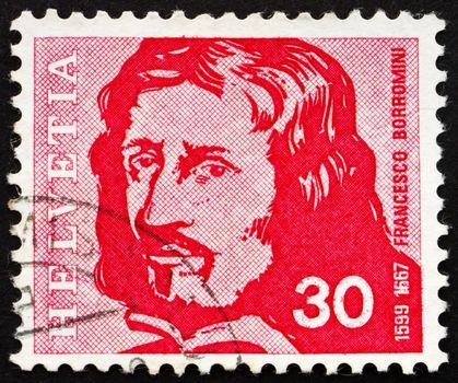 SWITZERLAND - CIRCA 1969: a stamp printed in the Switzerland shows Francesco Borromini, Architect, circa 1969