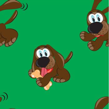 Seamless texture of cartoon dog. Illustration of the designer on green background