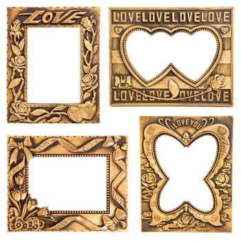 antique love gold frame collection isolated on white