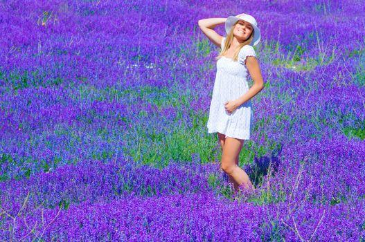 Pretty girl on lavender glade
