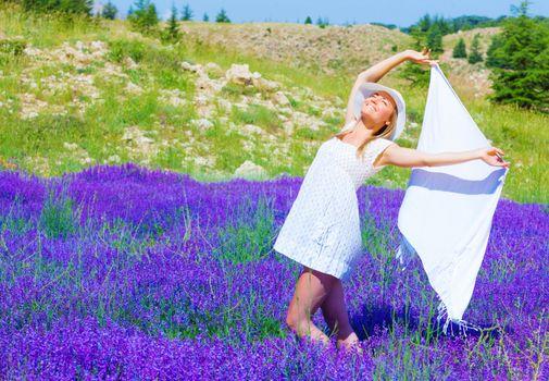 Woman dance on lavender field