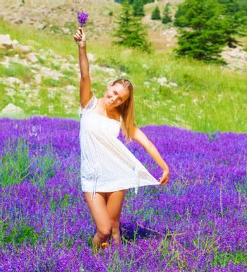 Young lady on floral glade