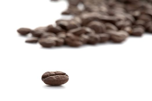 Grains of coffee scattering