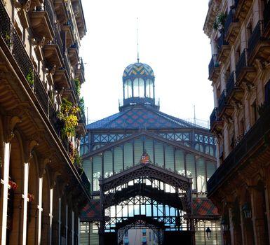 Barcelona Borne market facade in arcade