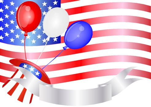 Fourth of July Balloons Hat Banner and US Flag Illustration