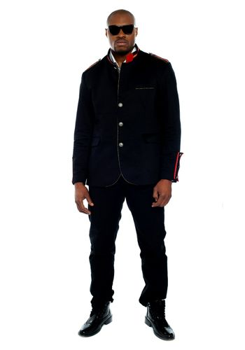 Fashionable african male dressed in black attire