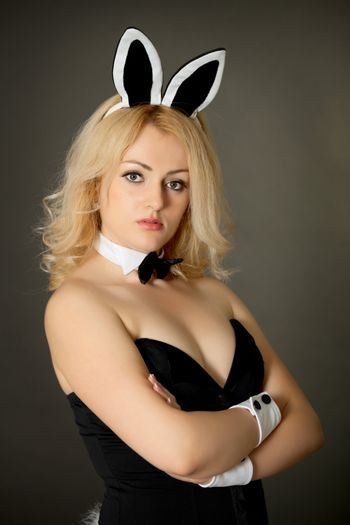 Beautiful young girl in a bunny suit
