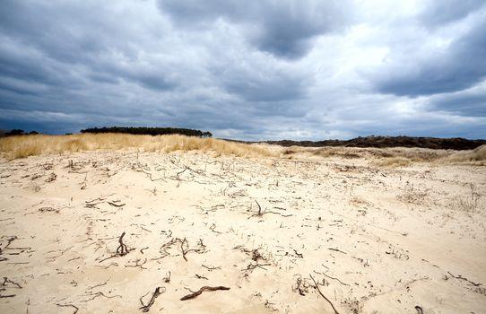 sandy desert before storm