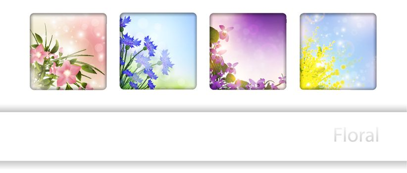 Collection with different flowers in frames, copyspace for your text