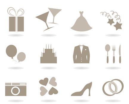 Icons on a theme wedding. A vector illustration