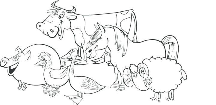 Cartoon illustration of funny farm animals group for coloring book