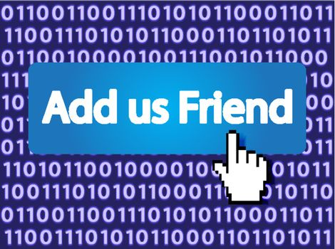 Add us Friend Button with Hand Cursor. Vector Illustration.
