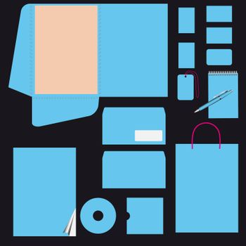 Blue business style template. Vector eps10. CMYK
