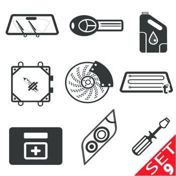 Car part icon set 9. Vector Illustration EPS8.