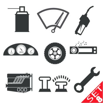 Car part icon set 8. Vector Illustration EPS8.