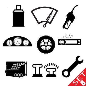 Car part icon set 8. Vector Illustration EPS8.