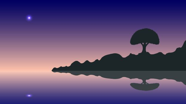 vector silhouette and sunset. Ideally for your use in design