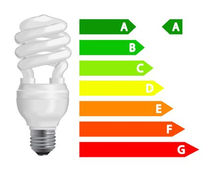 Energy efficiency  fluorescent light bulb. Vector Illustration.