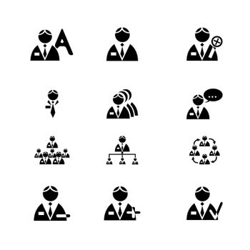 Vectored men icon set for business. Vector.