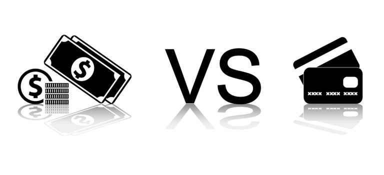 Cash vs card. Black and white vector illustration.