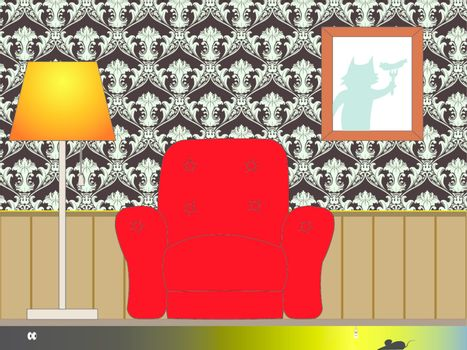 Funny cartoon Interior Vector illustration. EPS 10