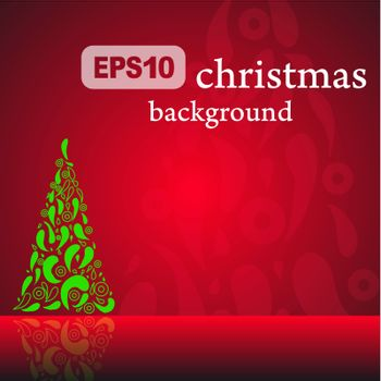 Red Christmas background with fancy tree. Vector.