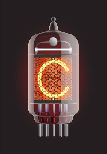 """Nixie tube indicator. Letter """"C"""" from retro, Transparency guaranteed."""