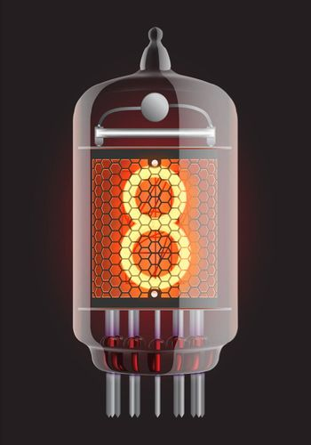 Nixie tube indicator. The number eight of retro, Transparency guaranteed. Vector illustration.